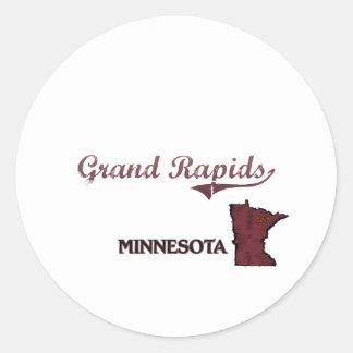 Obra clásica de la ciudad de Grand Rapids Etiqueta Redonda