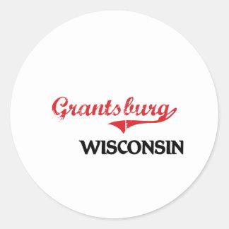 Obra clásica de la ciudad de Grantsburg Wisconsin Pegatina Redonda