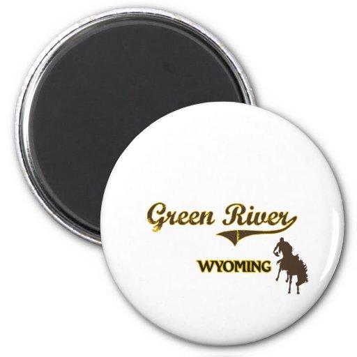 Obra clásica de la ciudad de Green River Wyoming Imán Redondo 5 Cm
