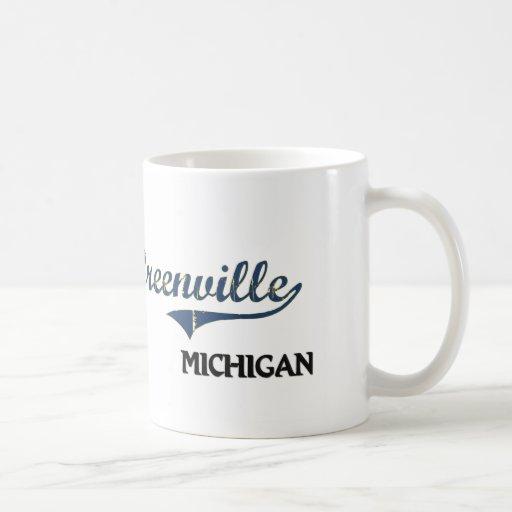 Obra clásica de la ciudad de Greenville Michigan Taza De Café
