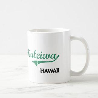 Obra clásica de la ciudad de Haleiwa Hawaii Taza Básica Blanca