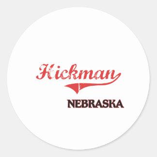 Obra clásica de la ciudad de Hickman Nebraska Pegatina Redonda