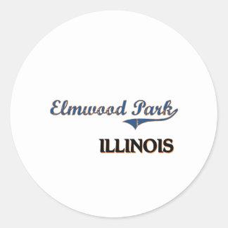 Obra clásica de la ciudad de Illinois del parque Etiquetas Redondas