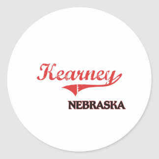 Obra clásica de la ciudad de Kearney Nebraska Etiqueta Redonda