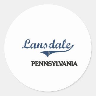 Obra clásica de la ciudad de Lansdale Pennsylvania Pegatina Redonda