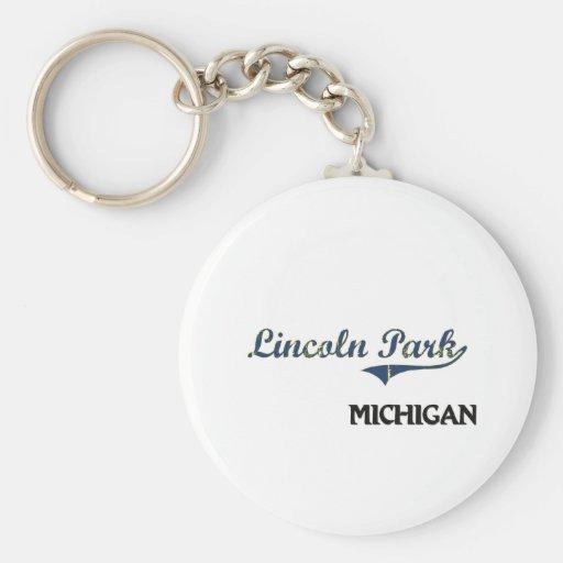 Obra clásica de la ciudad de Lincoln Park Michigan Llavero Personalizado