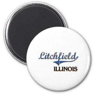 Obra clásica de la ciudad de Litchfield Illinois Imán Redondo 5 Cm