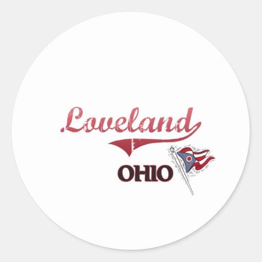 Obra clásica de la ciudad de Loveland Ohio Etiquetas Redondas