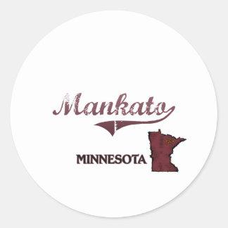 Obra clásica de la ciudad de Mankato Minnesota Etiquetas Redondas