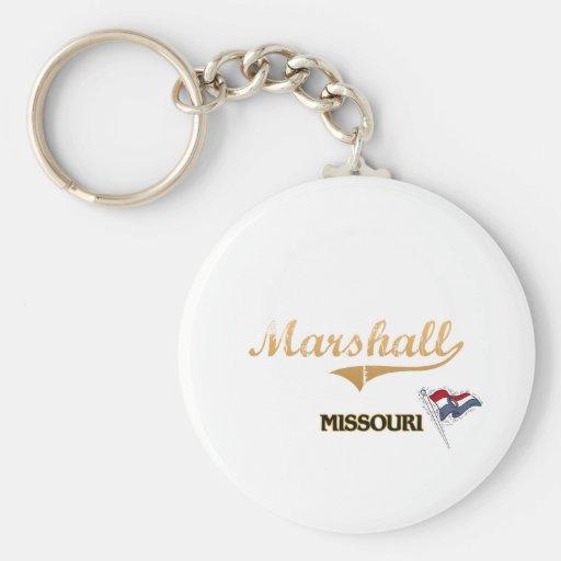 Obra clásica de la ciudad de Marshall Missouri Llavero Redondo Tipo Pin