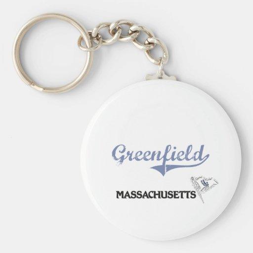 Obra clásica de la ciudad de Massachusetts de la p Llavero Redondo Tipo Pin