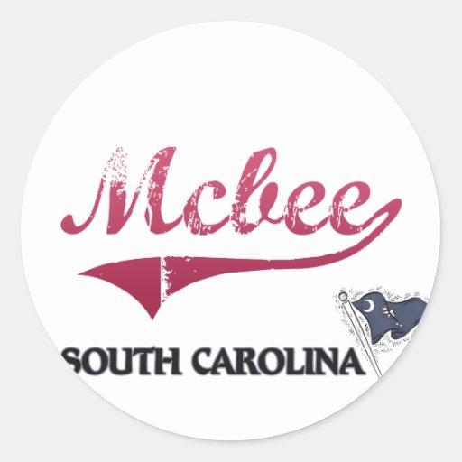 Obra clásica de la ciudad de Mcbee Carolina del Etiquetas Redondas