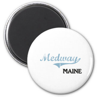 Obra clásica de la ciudad de Medway Maine Imán Redondo 5 Cm