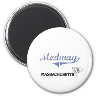 Obra clásica de la ciudad de Medway Massachusetts Imán Redondo 5 Cm