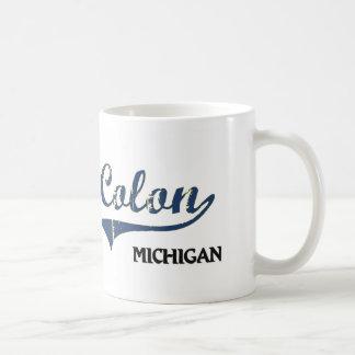 Obra clásica de la ciudad de Michigan de los dos p Taza
