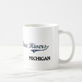 Obra clásica de la ciudad de Michigan de tres ríos Taza De Café