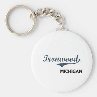 Obra clásica de la ciudad de Michigan del Ironwood Llaveros