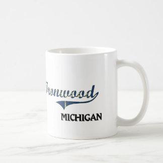 Obra clásica de la ciudad de Michigan del Ironwood Tazas De Café