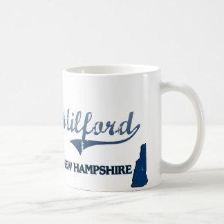 Obra clásica de la ciudad de Milford New Hampshire Taza De Café
