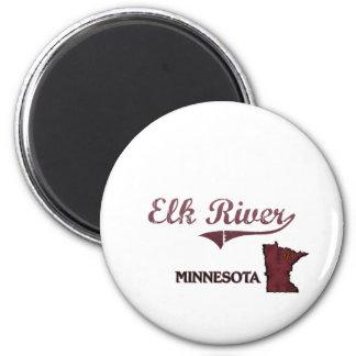 Obra clásica de la ciudad de Minnesota del río de  Imán Redondo 5 Cm