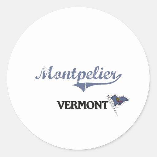 Obra clásica de la ciudad de Montpelier Vermont Pegatina Redonda