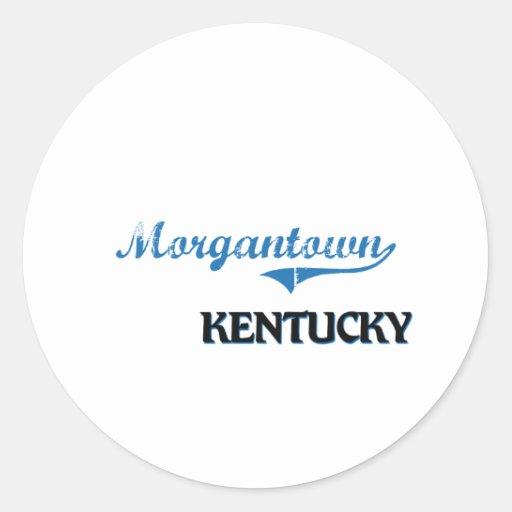 Obra clásica de la ciudad de Morgantown Kentucky Etiquetas Redondas