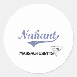Obra clásica de la ciudad de Nahant Massachusetts Pegatina Redonda