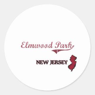 Obra clásica de la ciudad de New Jersey del parque Etiquetas Redondas