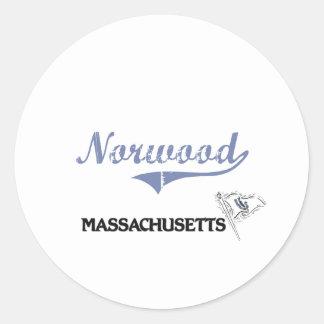 Obra clásica de la ciudad de Norwood Massachusetts Pegatina Redonda