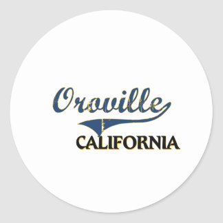 Obra clásica de la ciudad de Oroville California Pegatina Redonda