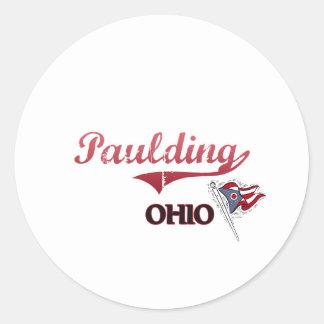 Obra clásica de la ciudad de Paulding Ohio Etiquetas Redondas
