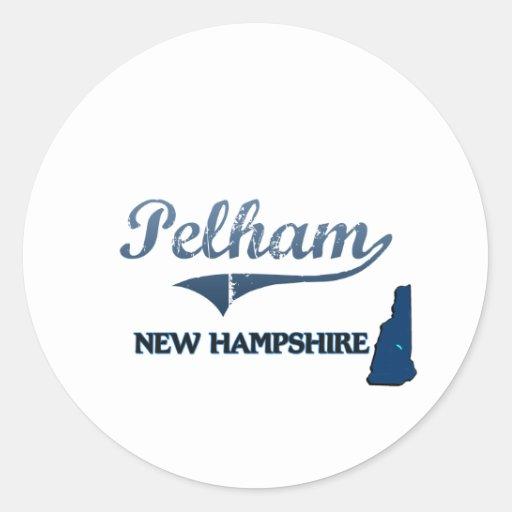 Obra clásica de la ciudad de Pelham New Hampshire Etiquetas Redondas