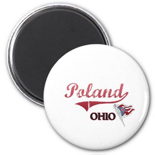 Obra clásica de la ciudad de Polonia Ohio Imán Redondo 5 Cm