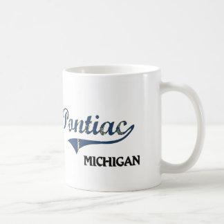 Obra clásica de la ciudad de Pontiac Michigan Tazas De Café