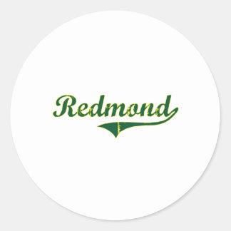 Obra clásica de la ciudad de Redmond Oregon Pegatina Redonda