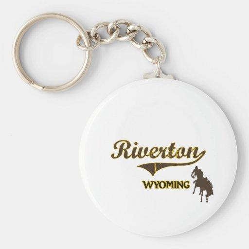 Obra clásica de la ciudad de Riverton Wyoming Llavero Personalizado