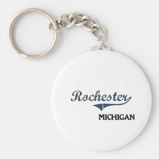 Obra clásica de la ciudad de Rochester Michigan Llavero Personalizado