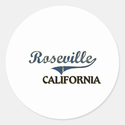 Obra clásica de la ciudad de Roseville California Pegatina Redonda