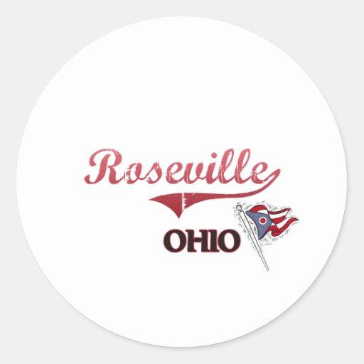 Obra clásica de la ciudad de Roseville Ohio Pegatina Redonda