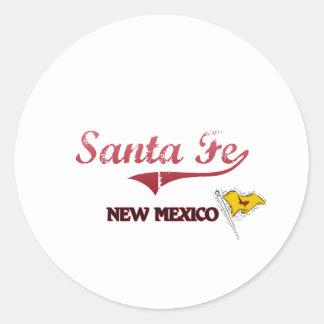 Obra clásica de la ciudad de Santa Fe New México Pegatina Redonda