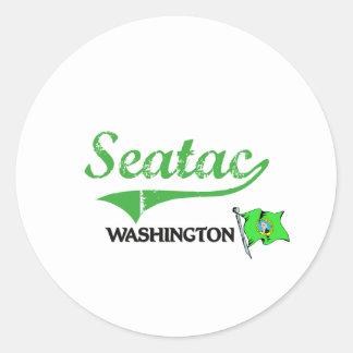 Obra clásica de la ciudad de Seatac Washington Pegatina Redonda