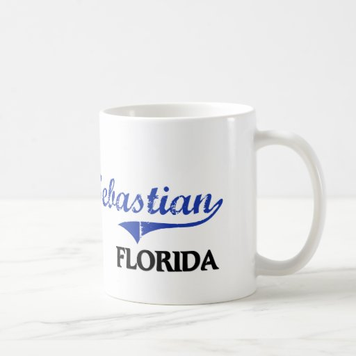 Obra clásica de la ciudad de Sebastian la Florida Taza Básica Blanca