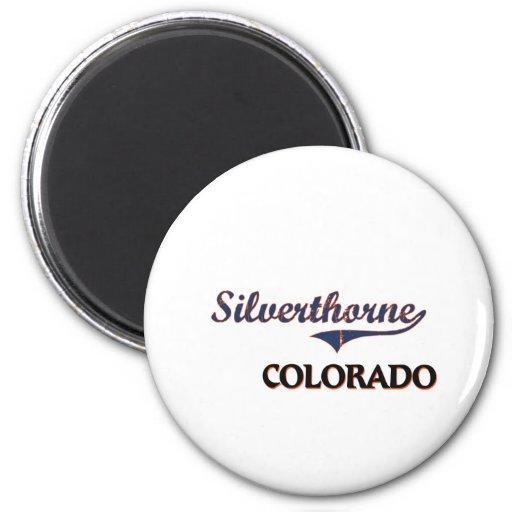 Obra clásica de la ciudad de Silverthorne Colorado Imán Redondo 5 Cm