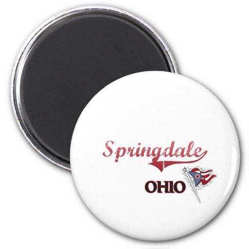 Obra clásica de la ciudad de Springdale Ohio Imanes