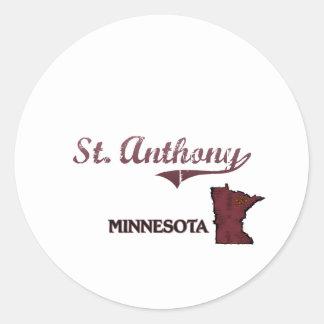 Obra clásica de la ciudad de St Anthony Minnesota Etiqueta Redonda