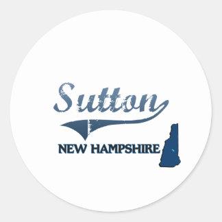 Obra clásica de la ciudad de Sutton New Hampshire Pegatina Redonda