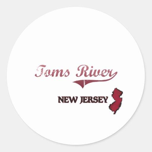 Obra clásica de la ciudad de Toms River New Jersey Pegatina Redonda