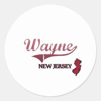 Obra clásica de la ciudad de Wayne New Jersey Pegatina Redonda