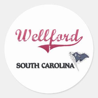 Obra clásica de la ciudad de Wellford Carolina del Pegatinas Redondas