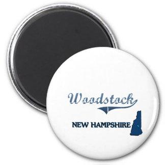 Obra clásica de la ciudad de Woodstock New Hampshi Imán
